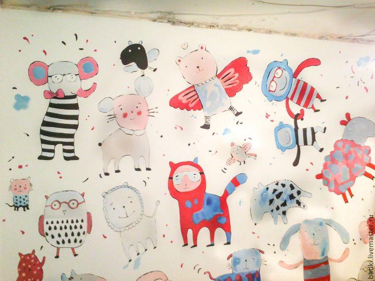 Купить Роспись стен. Детская комната. Сказочные герои - коралловый, детская, детская комната
