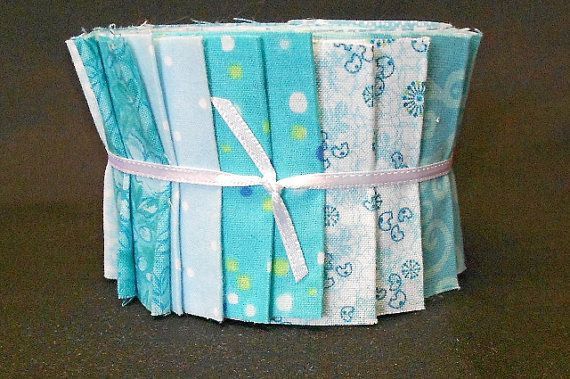 Aqua Jelly Roll Fabric Strips Turquoise Quilt Kit  by SEWFUNQUILTS, $19.75