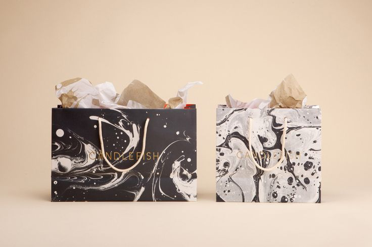 Marbled shopping bags for Charleston candle retailer Candlefish by Fuzzco