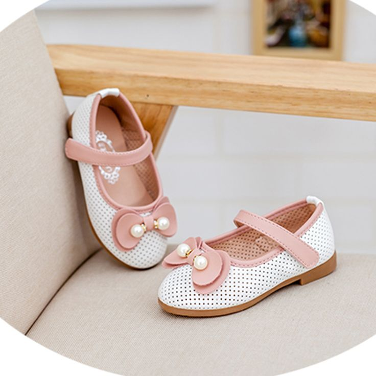 2016 present lovely girl flats breathable kid shoes dance marry janes velcro strap princess loafers white / pink flower bowknot alishoppbrasil