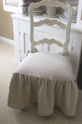 Soft Skirted Dining Room Chair Slipcoverstutorial Drop Cloth SlipcoverSlipcover