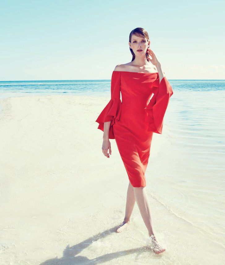 Milly Selena Off-The-Shoulder Sheath Dress, Flame $485.00 | NEW ...