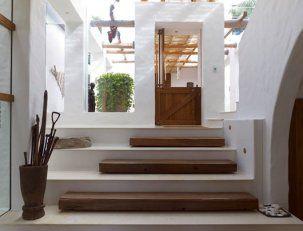 alternating stone, wood treads