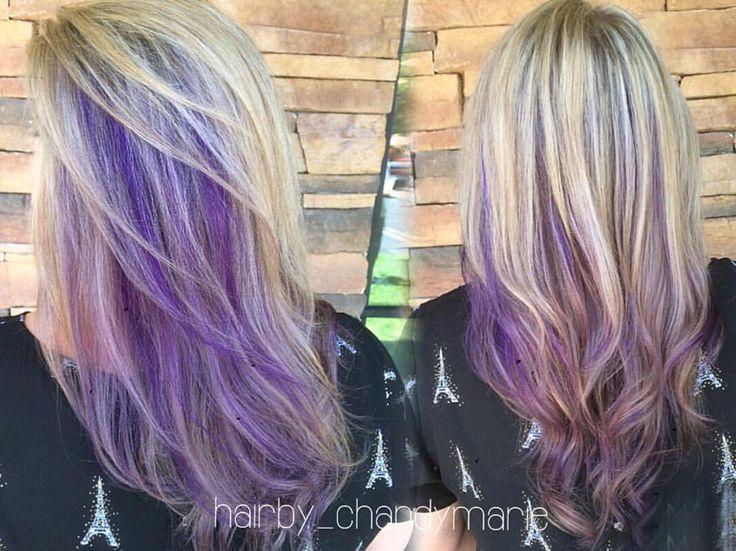 Full highlights, purple peekaboos and lavender ends  #chandymarie #hairbychandymarie #purplehair - hairby_chandymarie