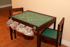 Ikea kids' table. Magnetic paint on top for alphabet magnets etc.