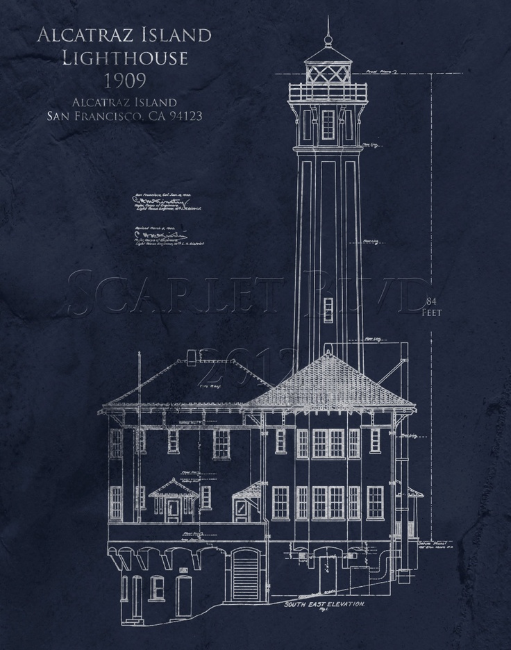 Architectural Blueprint Art Print - Alcatraz Lighthouse - 8 x 10. $25.00, via Etsy.