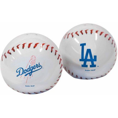 MLB Dodgers Baseball Shaped Salt and Pepper Shakers, Multicolor