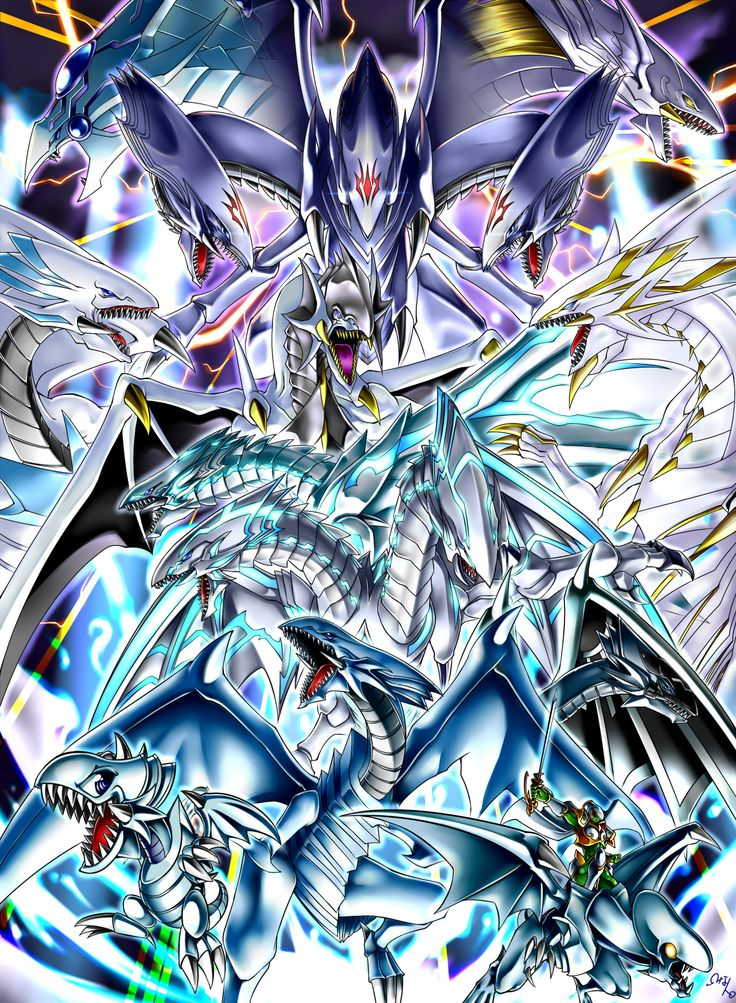Pixiv Id 1380126, Yu-Gi-Oh!, Blue-Eyes Toon Dragon, Blue-Eyes White Ka Dragon, Blue-Eyes Spirit Dragon, Malefic Blue-Eyes White Dragon