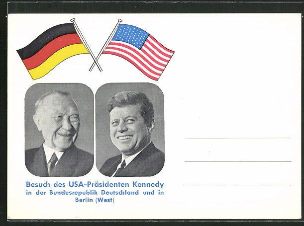 AK Berlin, Besuch des USA-Präsidenten Kennedy in der BRD, Porträt mit Adenauer,