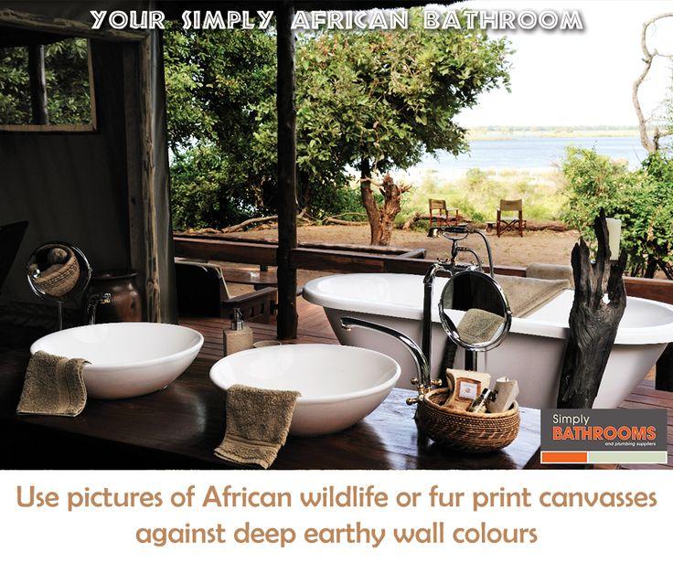 Bring the African outdoors indoors for a wild bathroom look! #HomeImprovements #BathroomDecor