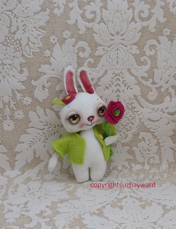 Painted Easter bunny cloth doll by suziehayward on Etsy, $62.00