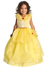Deluxe Yellow Beauty Princess dress for girls. Belle's dress from Beauty and the Beast. Washable, comfortable, affordable and adorable. The best dress-up clothes for kids. #princessdress #rosiesboutique #rosiesteaparty #girlscostumes