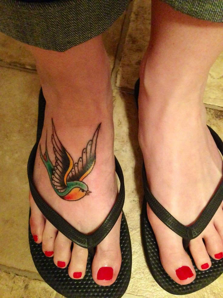 my rad little birdie - colorful swallow tattoo on foot