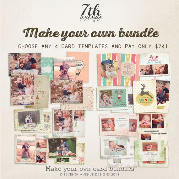 MAKE your own card bundle  Buy any 4 card by 7thavenuedesigns