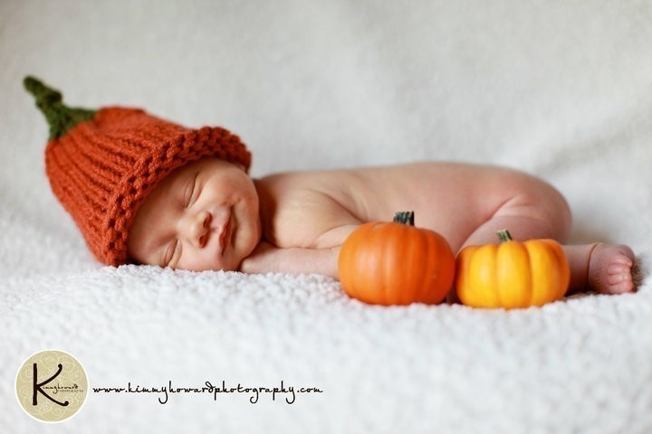 Christmas in July Knit Baby Pumpkin Hat Photo Prop. $23.00, via Etsy.