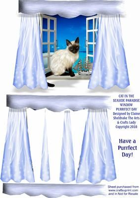 PURRFECT DAY CAT IN SEASIDE PARADISE WINDOW A5 DECOUPAGE  on Craftsuprint - Add To Basket!