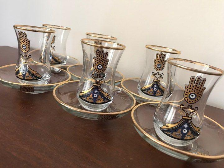 Details about turkish tea set of 6 hamsa evil eye gold