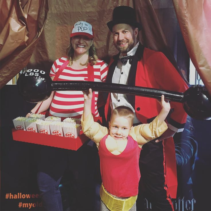 Family circus Halloween costume at 8 months pregnant! Ringmaster, strongman, and a popcorn vendor who was ready to pop!