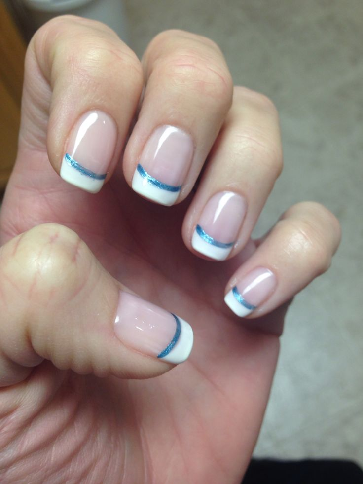 French manicure with blue accent line