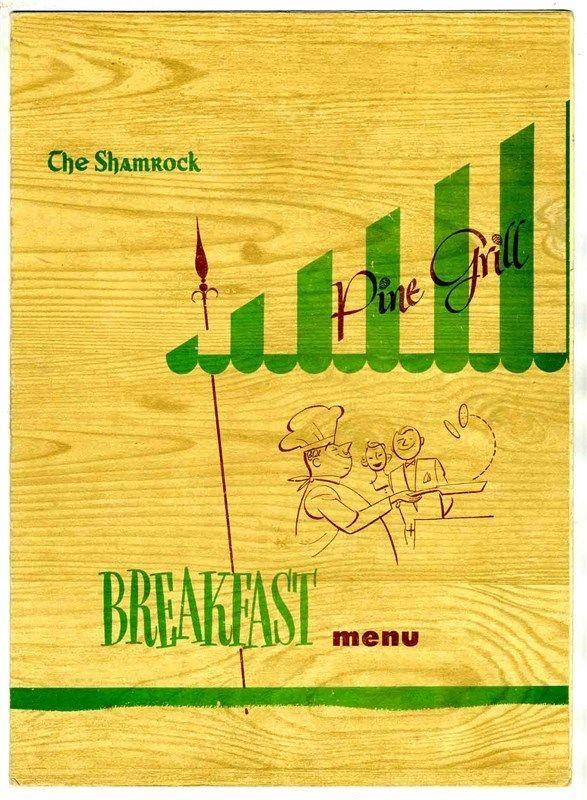 The Pine Grill Menu Shamrock Hotel Houston Texas 1949  | eBay