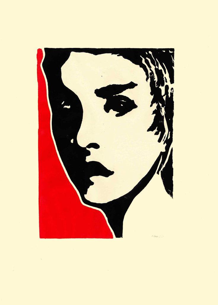 Im Schatten - Linoldruck, Ingrespapier