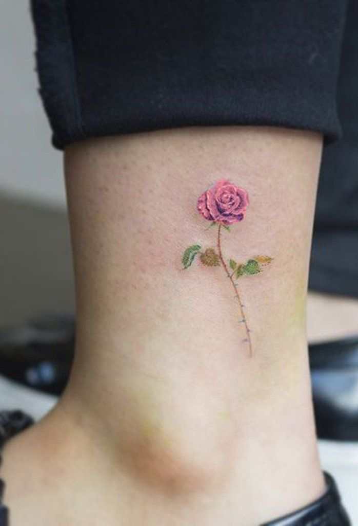 Tiny Simple Watercolor Single Rose Ankle Tattoo Ideas For Women