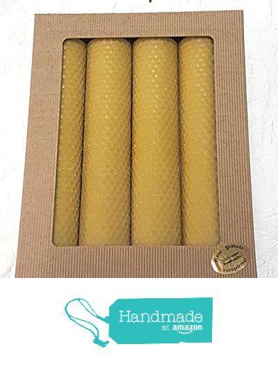 4 x Bienenwachskerzen handgedreht aus 100% reinem Bienenwachs in Wabenform in einem hochwertigen Geschenkkarton offene Welle natur mit Fenster in verpackt. Größe 200mm x 40mm . Das Gewicht ca. 500g. Die Dochte sind im Bienenwachs getaucht, damit die Kerzen besser , ruhiger und länger brennen von der E-MANUFAKTUR https://www.amazon.de/dp/B06XQZRL6V/ref=hnd_sw_r_pi_dp_xgRZybJ7402AF #handmadeatamazon