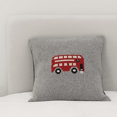 Knitted London Bus Cushion Cover | The White Company