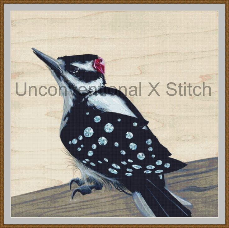 Woodpecker cross stitch pattern - Hard Knock - Licensed Brianna Reagan by UnconventionalX on Etsy