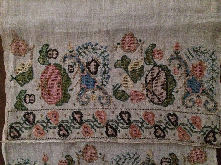 19th C Antique Ottoman Turkish Hand Embroidered on Linen Yaglik Geometric Motif   eBay