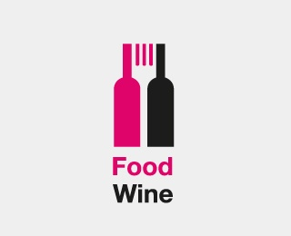 The negative space between two wine bottles serves as fork icon - designed by Jose Escafandrus, Colombia