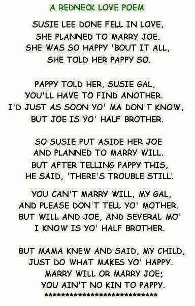 A redneck love poem...BURSTING WITH LAUGHTER!
