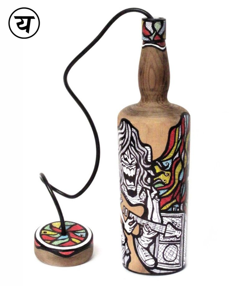"""Guitar (Hand-painted Single Malt Bottle Lamp) 