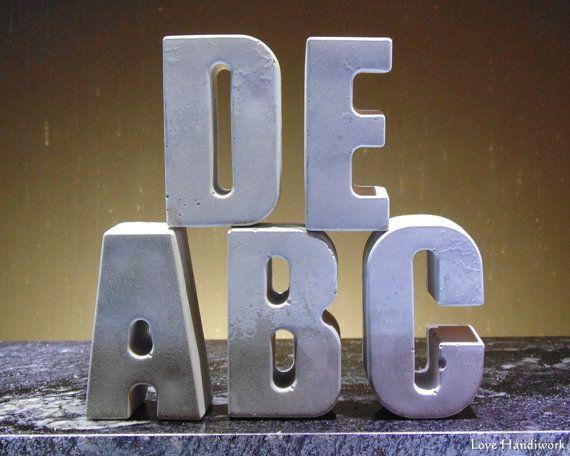 Cement Alphabet Garden Toys or Paperweights by LoveHandyWork