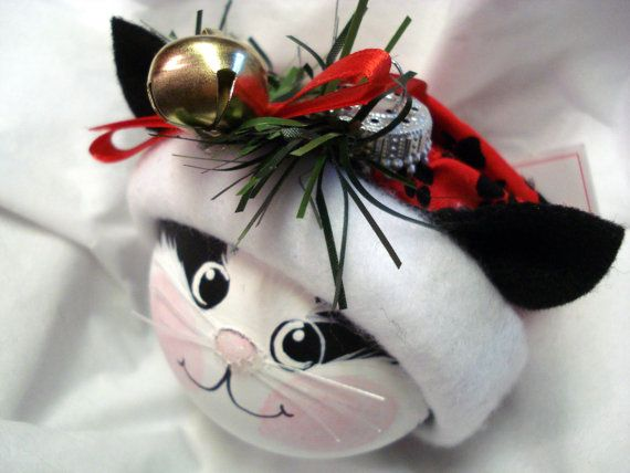 Black White Cat Christmas Ornament Hand Painted Personalized Jingle Bell & Red Black Paw Print Hat