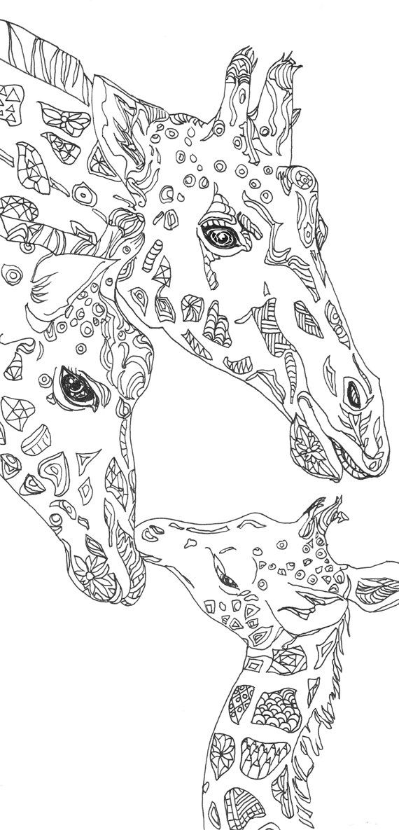 Coloring Pages Giraffe Printable Adult Book Clip Art Hand Drawn Original Zentangle By ValRA