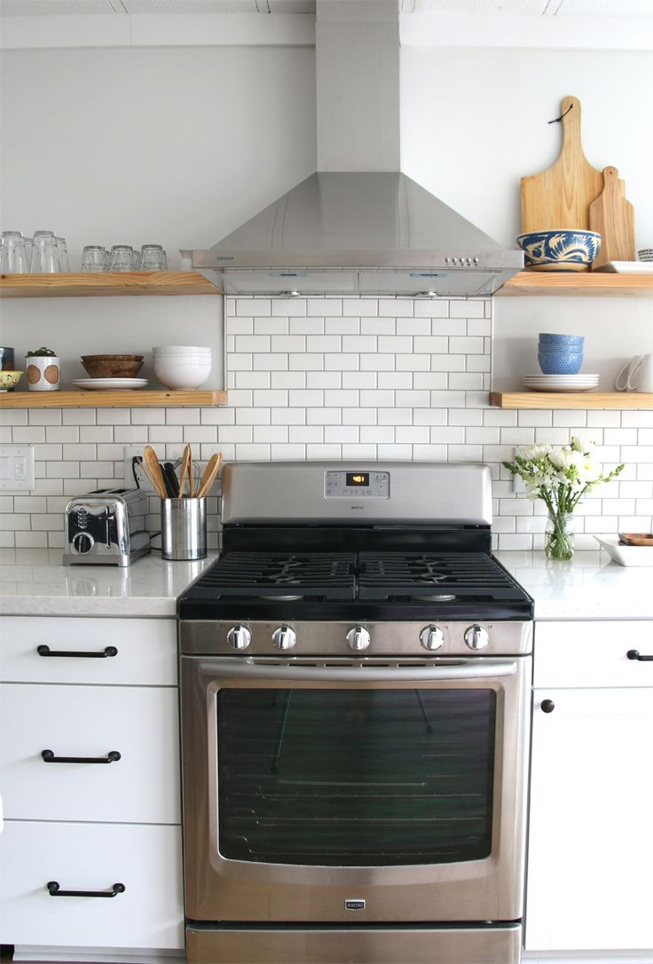 Backsplash To Hood With Open Shelving In 2019 Kitchen