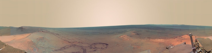 Just another interactive panorama produced from Caltech and JPL images of Spirit Rover on Mars.The main trick in producing a decent panorama from the images is dealing with the wobbly horizon. It takes a bit of guess work and some padding of the image at the bottom to get a good result.A fair bit of work is required to deal with the differenct shading, I'm probably not done yet fiddling with it.
