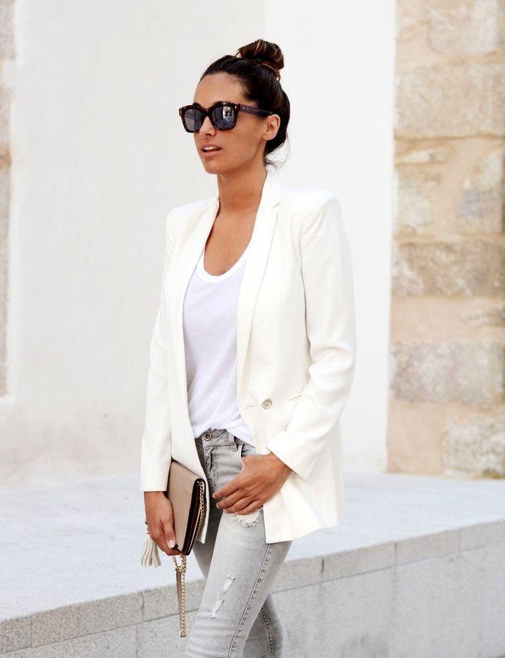 grey jeans + white blazer + top knot
