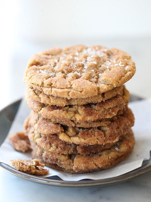 Flourless Chewy Cinnamon Sugar Peanut Butter Cookies | foodiecrush.com
