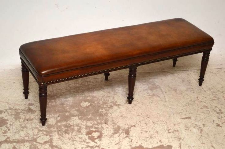 Large Antique Victorian Leather Seat, Bench or Stool | Church Street Antiques - Antique Furniture