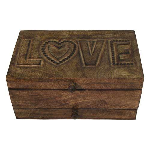 Once A Tree Mango Wood Love Design Jewellery Trinket Box