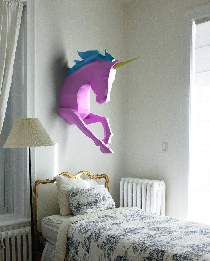DIY UNICORN PAPERCRAFT 3D Unicorn Papercraft DIY gift Unicorn origami Low poly unicorn paper model trophy