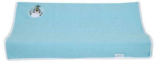 #bebes bébé-jou – Funda para colchón cambiador con motivo de pingüino (72 x 44 cm), color turquesa