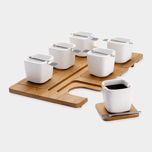 Winner of a student design contest, this espresso set includes a bamboo tray with six inset bamboo saucers, six porcelain cups, and six stainless-steel spoons that rest across the cups. In addition to serving espresso, the set can also be used to serve appetizers and desserts. Espresso cups are dishwasher- and microwave-safe; espresso spoons are dishwasher-safe. $65