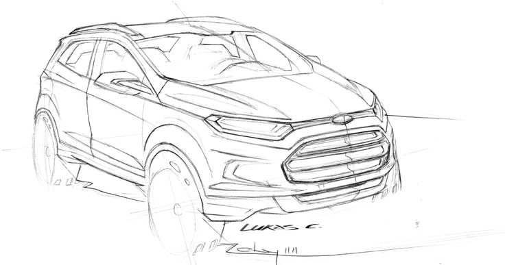 Working sketch of the Ford EcoSport #EcoSportDrive - Follow the link to read my review http://jennievickers.wordpress.com/2014/03/25/ford-ecosport-review/ #EcoSport #EcoSportDrive #Ford #JennieVickers #Zeopard #CX #CustomerExperience