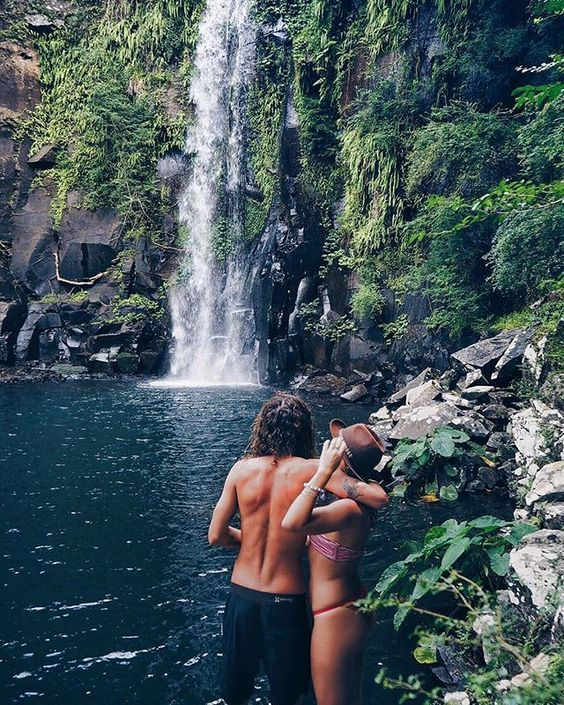 Couple goal. Love. Relaxation. Nature. Peace of mind. Waterfall. Relationship goal. Life.