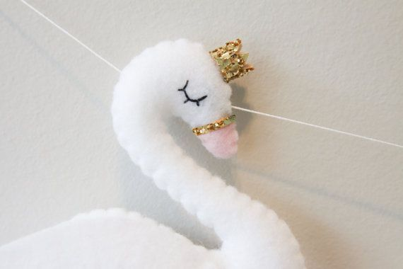 Plush Swan Modern Felt Swan with Crown by madebyclairelouise