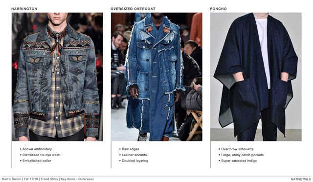 #FashionSnoops FW 17/18 trends on #WeConnectFashion. Men's denim theme: NATIVE WILD - key items, outerwear.