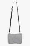 A chic grey felt purse with three compartments (the middle one zips closed) and a shoulder strap that snaps on with clips, meaning you can clutch-ify it!  colour: grey melange measurements: 21,5 * 15 cm